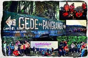 #7. Plang Gede Pangrango, berikut foto keluarga di Gede (atas kanan), mandalawangi (tengah kanan), istirahat di jaur trekking Gunung Putri (kanan bawah), Lembah Suryakencana (tengah bawah) dan Puncak Pangrango (kiri). (doc Ricky Merah)