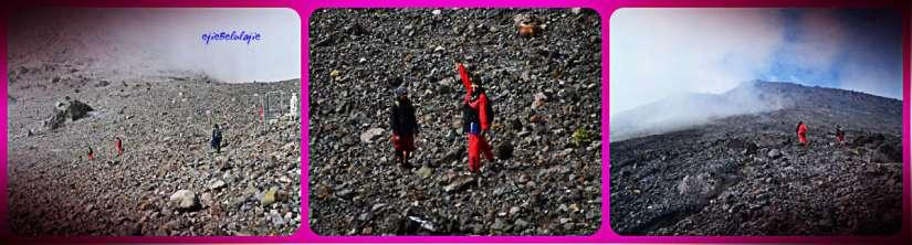 Bubrah menuju puncak Merapi, tersangkut di 3/4 jalan pasirnya, jejakmu tetap ada. (doc Ricky merah)