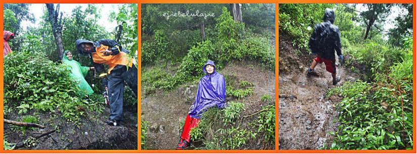 Kika: Jalur Kartini yang kami lalui saat turunan. Tengah: persimpangan kiri ke jalur Kartini dan kanan ke jalur Kartono. (doc pribadi)