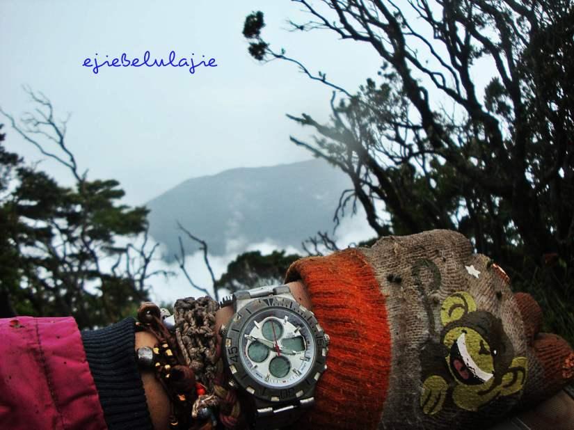 Pemandangan dari plang puncak Pangrango. Kurangin 10 menit dari waktu sebenarnya ya? Heheheee.... (doc pribadi)