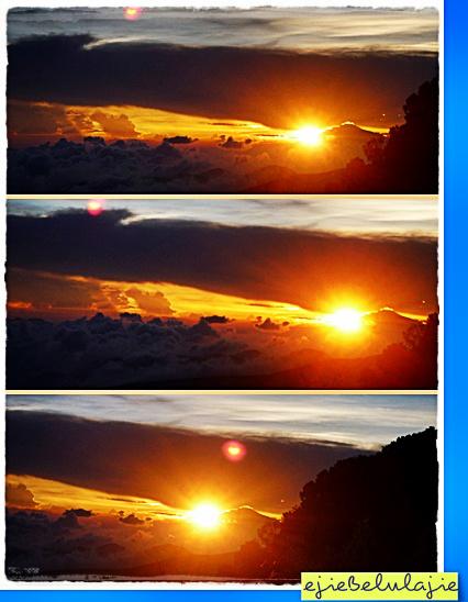 Sunrise yang kupotret di pukul 06.01 WIB. Keluar dari peraduannya di ufuk Gunung ciremai yang belum pernah kudaki. (doc pribadi)