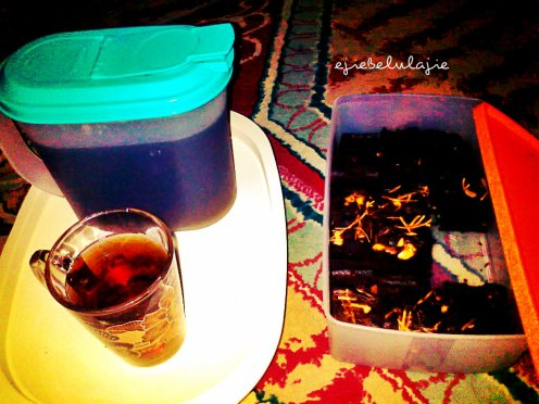 Wellcome drink... hot tea and chocolate brownies. Thank's Ecy ;) (doc pribadi)