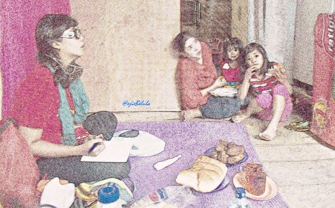Ibu Caya dan kedua anaknya. (doc Vera)