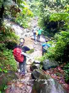 Turunan awal. Lewatin aliran air, atau ke jembatan bambu. (doc pribadi)