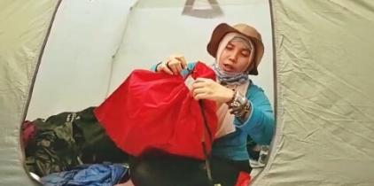 Tes UQ dalam hammock, setelah tali diserut. Doc @wan_qwong